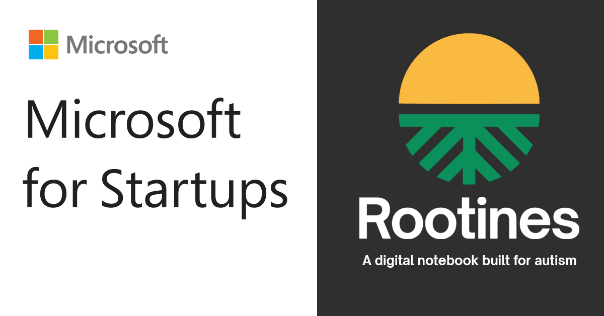 Microsoft for Startups logo and Rootines logo