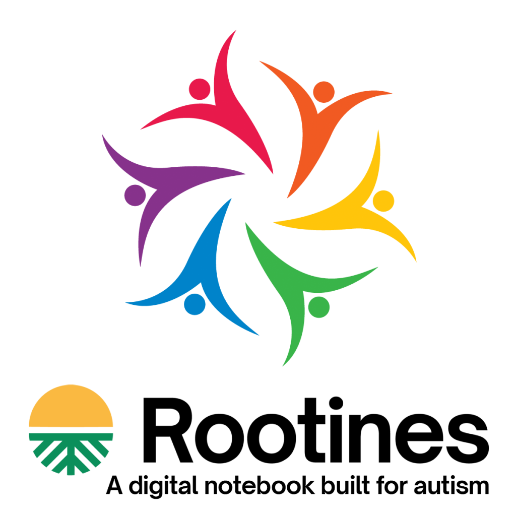 Artistic image of people in a circle; at the bottom is the Rootines logo and it says Rootines a digital notebook built for autism.